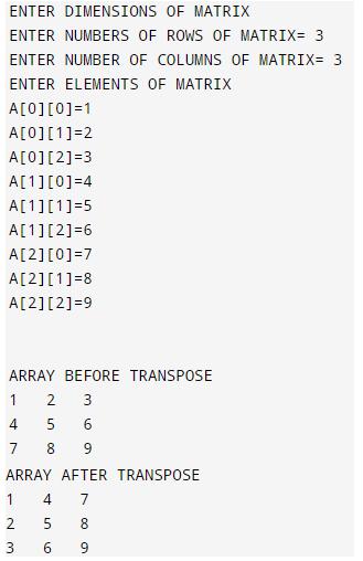 transpose of a matrix in c 1