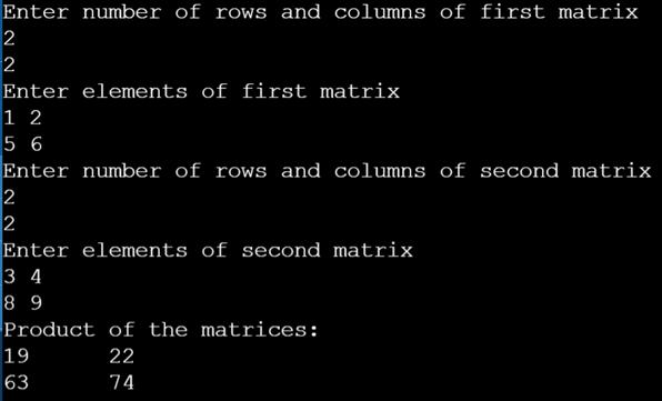 transpose of the matrix in c 1