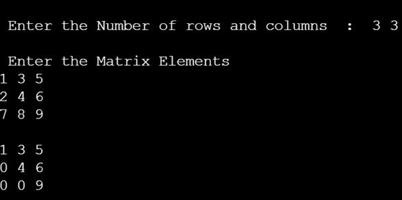 transpose of the matrix in c 2